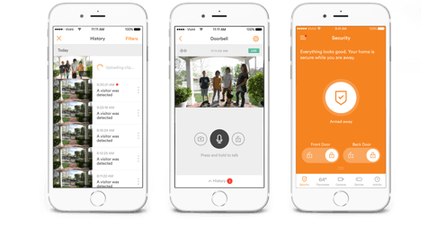 vivint app displayed on three iphones